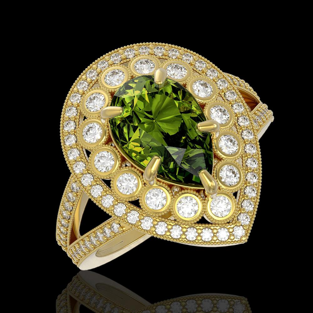 5.02 ctw Tourmaline & Diamond Ring 14K Yellow Gold - REF-172M7F - SKU:43141