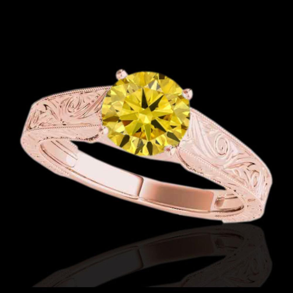 1 ctw SI/I Fancy Intense Yellow Diamond Ring 10K Rose Gold - REF-114R5K - SKU:35190