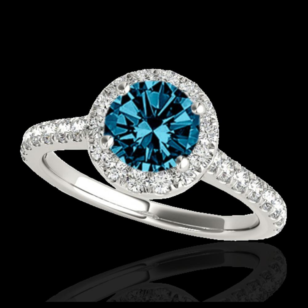 1.40 ctw SI Fancy Blue Diamond Solitaire Halo Ring 10K White Gold - REF-120M2F - SKU:33585