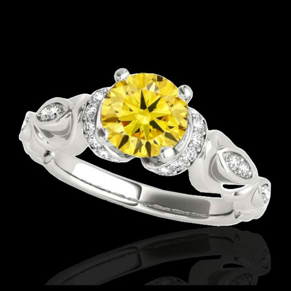 1.20 ctw SI Intense Yellow Diamond Ring 10K White Gold - REF-150N2A - SKU:34682