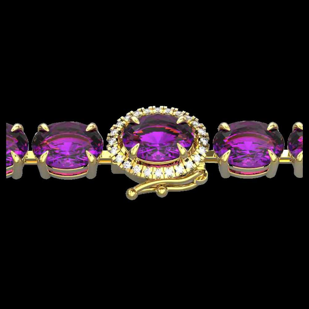 19.25 ctw Amethyst & VS/SI Diamond Bracelet 14K Yellow Gold - REF-116K4W - SKU:40220