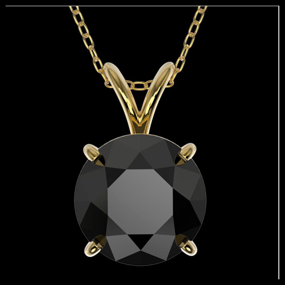2 ctw Fancy Black Diamond Solitaire Necklace 10K Yellow Gold - REF-58F5N - SKU:33235