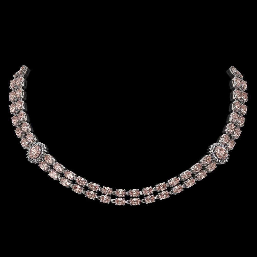 36.2 ctw Morganite & Diamond Necklace 14K White Gold - REF-531K3W - SKU:44180
