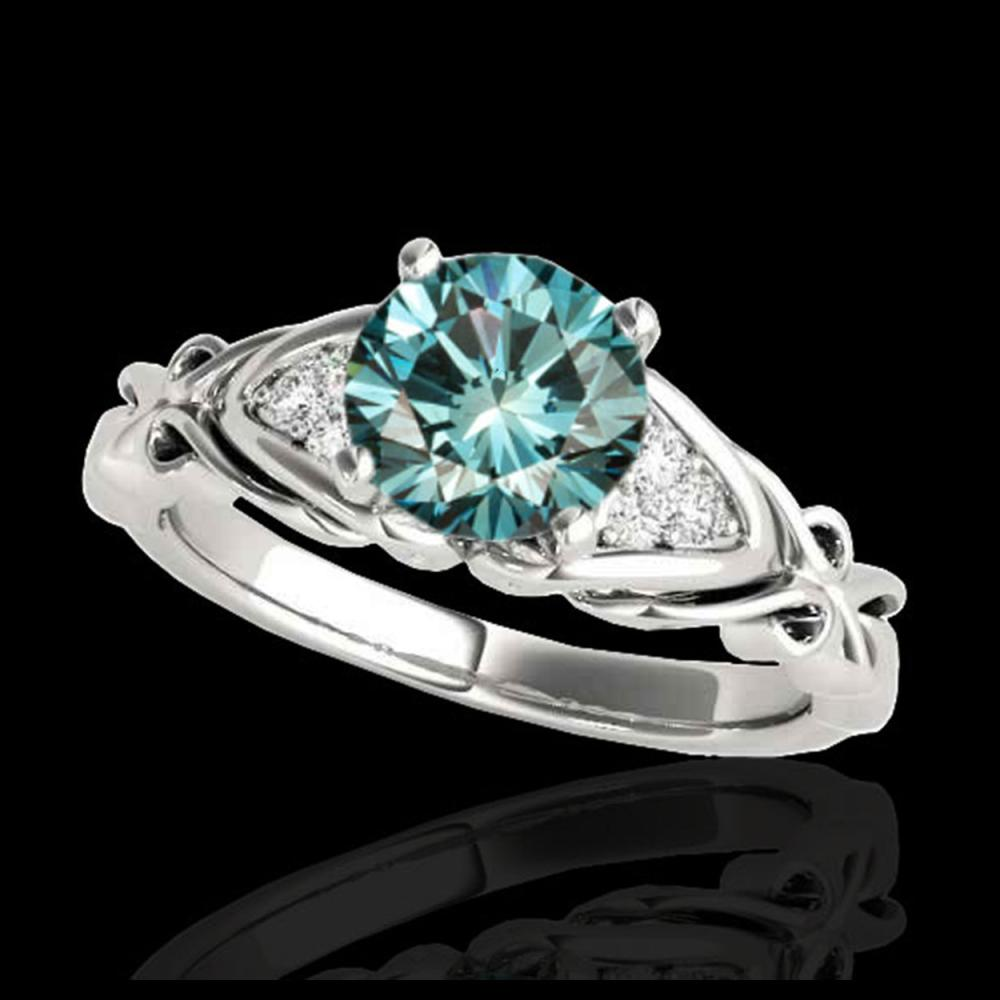 1.35 ctw SI Fancy Blue Diamond Solitaire Ring 10K White Gold - REF-150A2V - SKU:35212