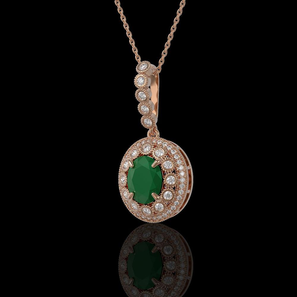 4.67 ctw Emerald & Diamond Necklace 14K Rose Gold - REF-139V8Y - SKU:43656