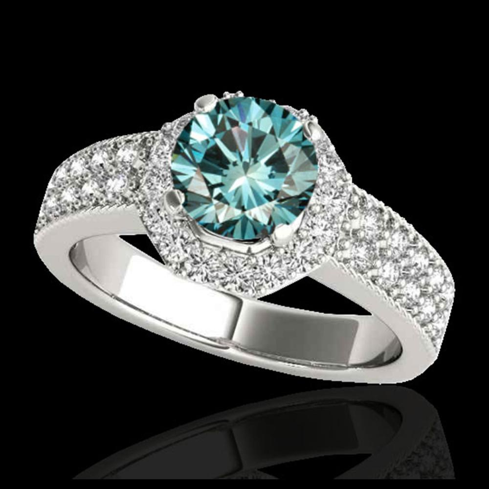 1.40 ctw SI Fancy Blue Diamond Solitaire Halo Ring 10K White Gold - REF-129R5K - SKU:34554