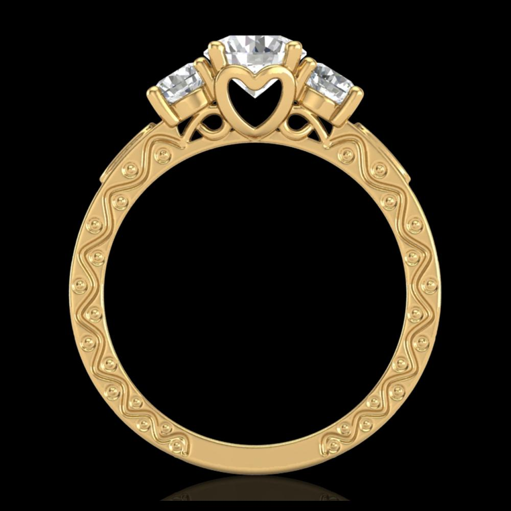 1.41 ctw VS/SI Diamond Solitaire Art Deco 3 Stone Ring 18K Yellow Gold - REF-263M6F - SKU:37009