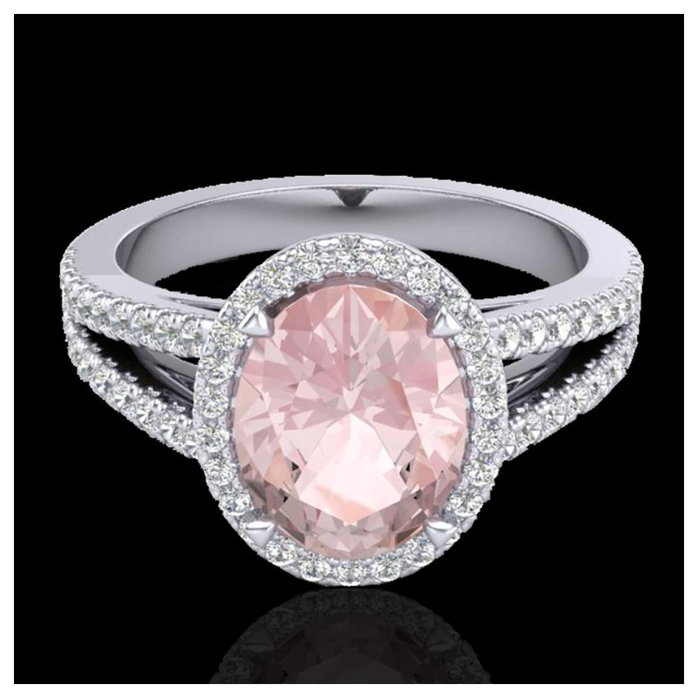 3 ctw Morganite & VS/SI Diamond Halo Ring 18K White Gold - REF-86N2A - SKU:20944