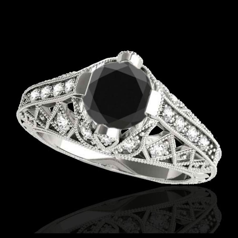1.25 ctw VS Black Diamond Solitaire Ring 10K White Gold - REF-44Y2X - SKU:34687