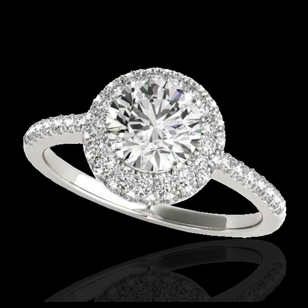 1.60 ctw H-SI/I Diamond Solitaire Halo Ring 10K White Gold - REF-203X2R - SKU:33670