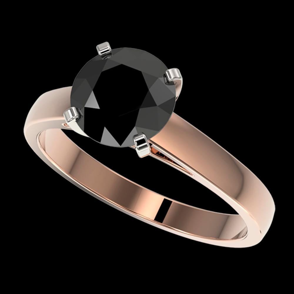 2.15 ctw Fancy Black Diamond Solitaire Ring 10K Rose Gold - REF-58M5F - SKU:36556