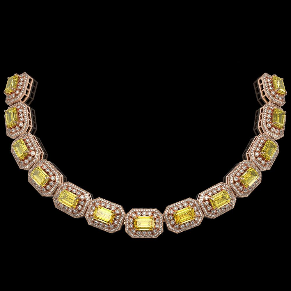 110.45 ctw Canary Citrine & Diamond Necklace 14K Rose Gold - REF-2357V6Y - SKU:43476