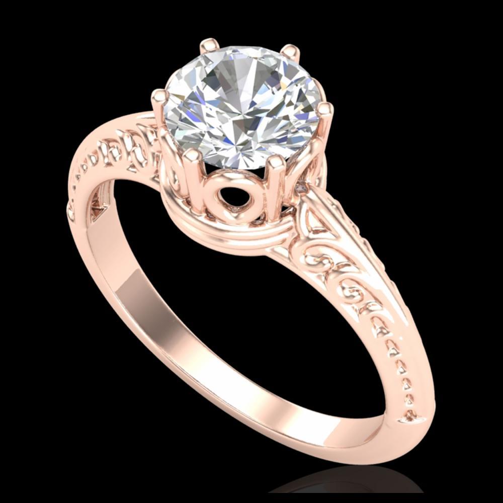 1 ctw VS/SI Diamond Art Deco Ring 18K Rose Gold - REF-361M8F - SKU:37251