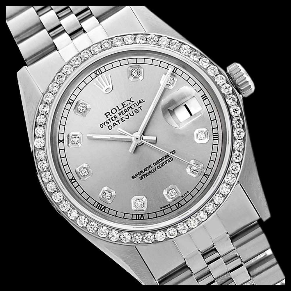 Rolex Men's Stainless Steel, QuickSet, Diamond Dial & Diamond Bezel - REF-521K5T