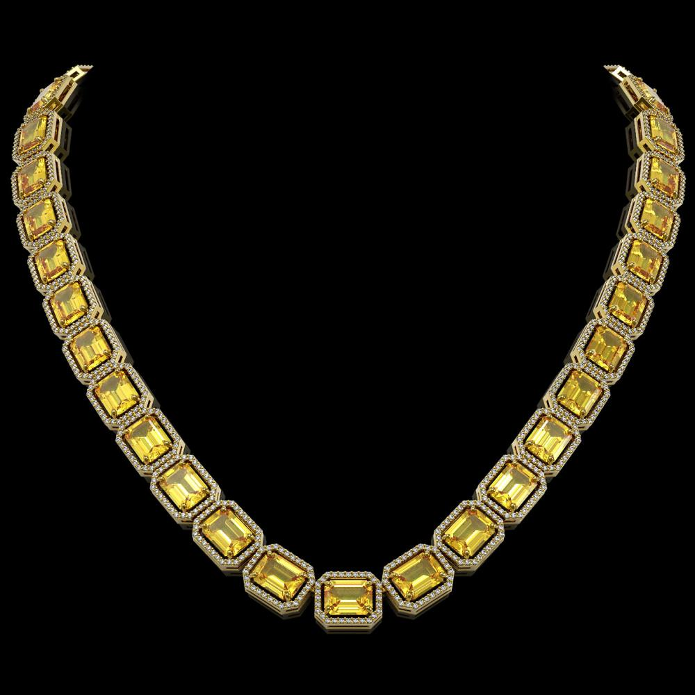 77.35 ctw Fancy Citrine & Diamond Halo Necklace 10K Yellow Gold - REF-737N3A - SKU:41518