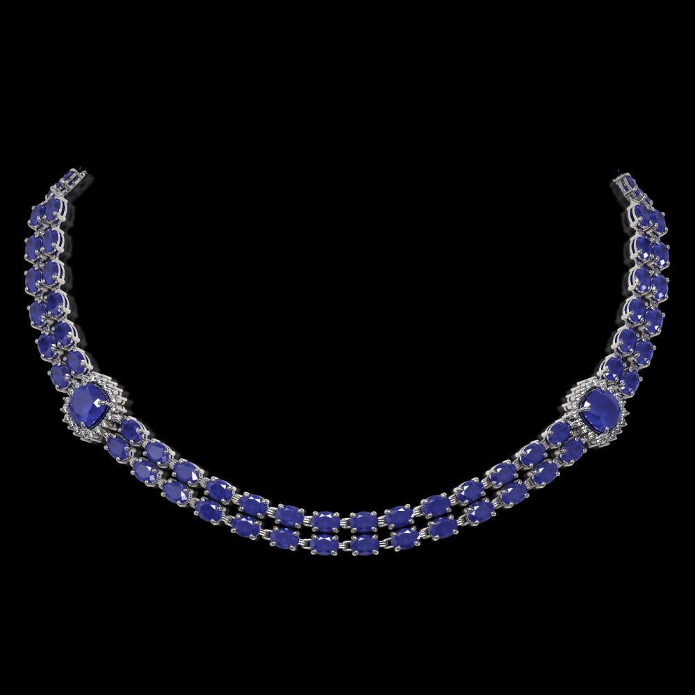 43.97 ctw Sapphire & Diamond Necklace 14K White Gold - REF-438X2R - SKU:44687