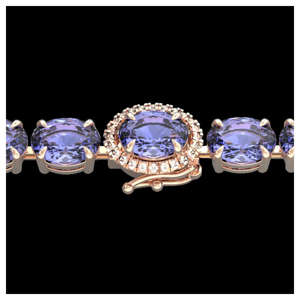 32 ctw Tanzanite & VS/SI Diamond Bracelet 14K Rose Gold - REF-328R9K - SKU:23441
