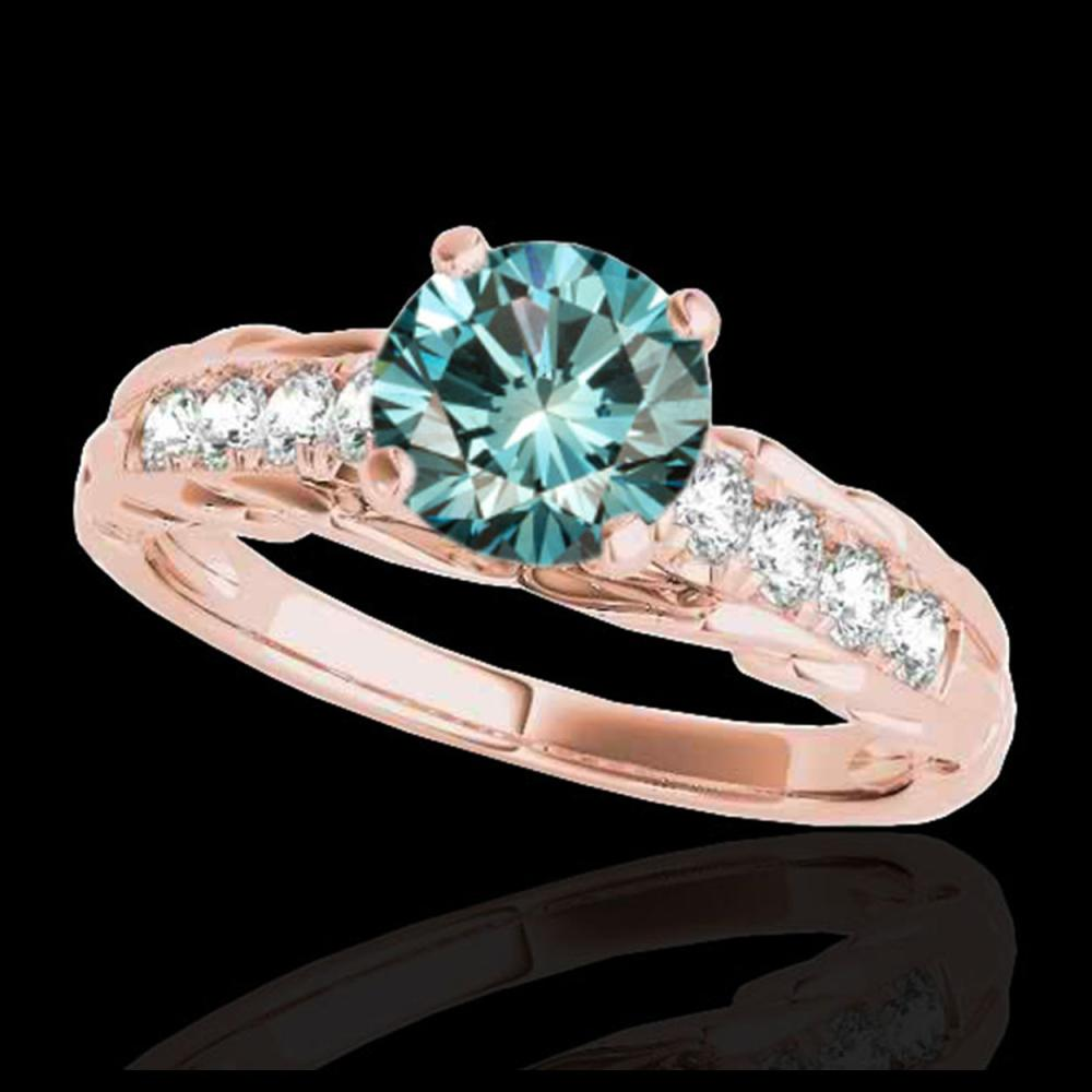 1.20 ctw SI Fancy Blue Diamond Solitaire Ring 10K Rose Gold - REF-118W6H - SKU:34940