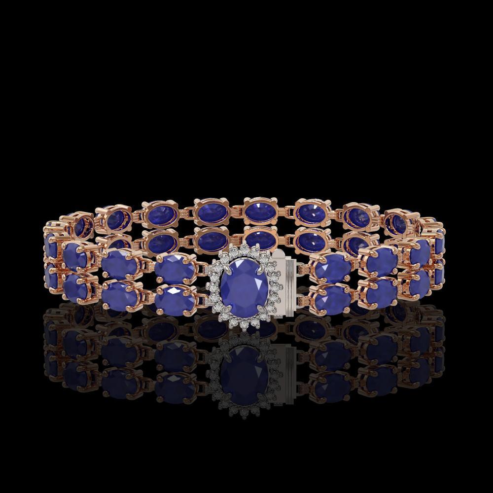 30.12 ctw Sapphire & Diamond Bracelet 14K Rose Gold - REF-176A7V - SKU:45486