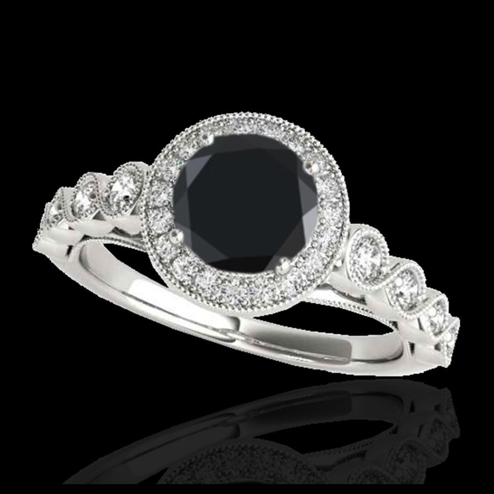 1.50 ctw VS Black Diamond Solitaire Halo Ring 10K White Gold - REF-58Y2X - SKU:33601