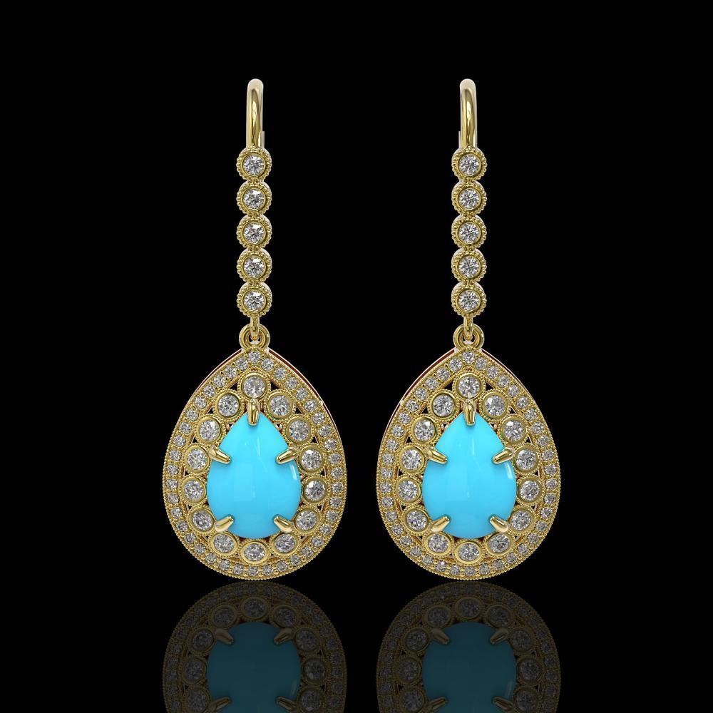 7.95 ctw Turquoise & Diamond Earrings 14K Yellow Gold - REF-241W5H - SKU:46148