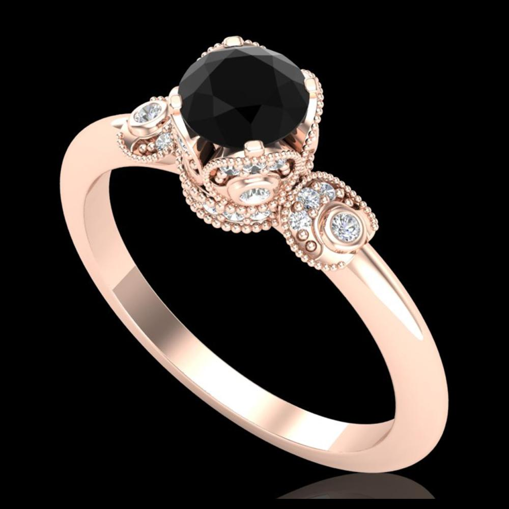 1 ctw Fancy Black Diamond Art Deco Ring 18K Rose Gold - REF-80A2V - SKU:37395