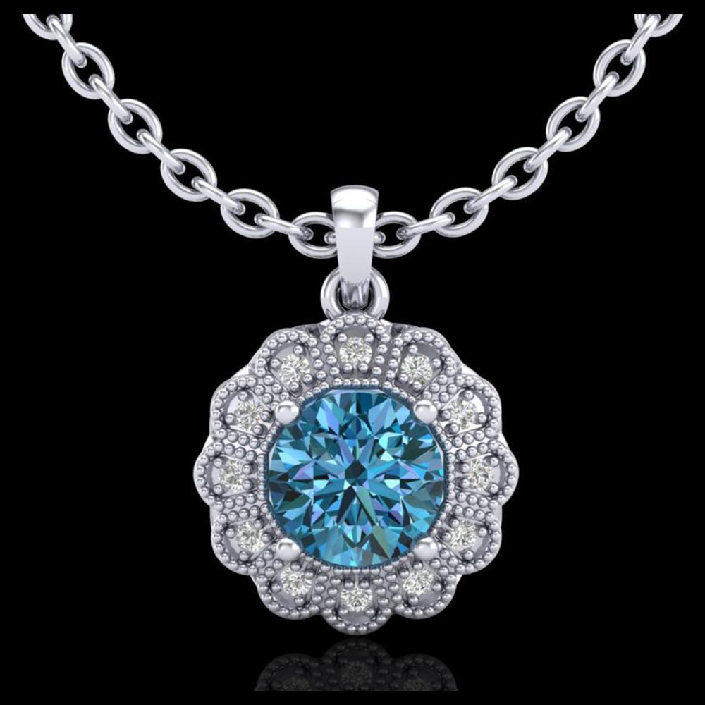 1.15 ctw Fancy Intense Blue Diamond Art Deco Necklace 18K White Gold - REF-218N2A - SKU:37845