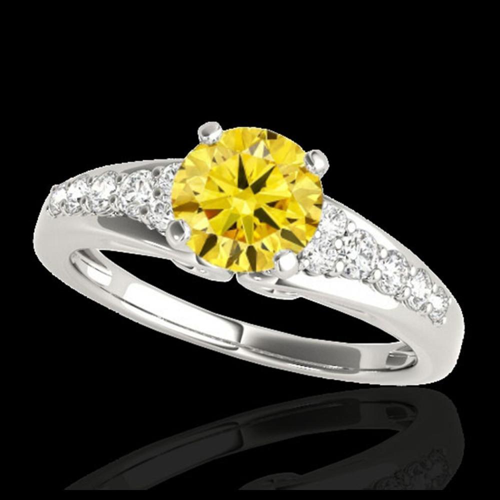 1.40 ctw SI/I Fancy Intense Yellow Diamond Ring 10K White Gold - REF-190H9M - SKU:35003