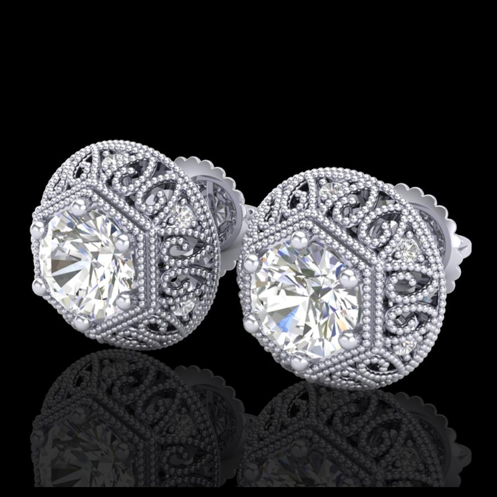 1.31 ctw VS/SI Diamond Solitaire Art Deco Stud Earrings 18K White Gold - REF-236R4K - SKU:36920
