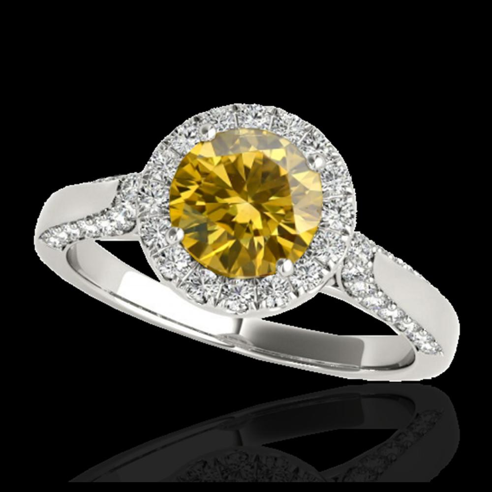 1.50 ctw SI/I Fancy Intense Yellow Diamond Ring 10K White Gold - REF-204A5V - SKU:33569