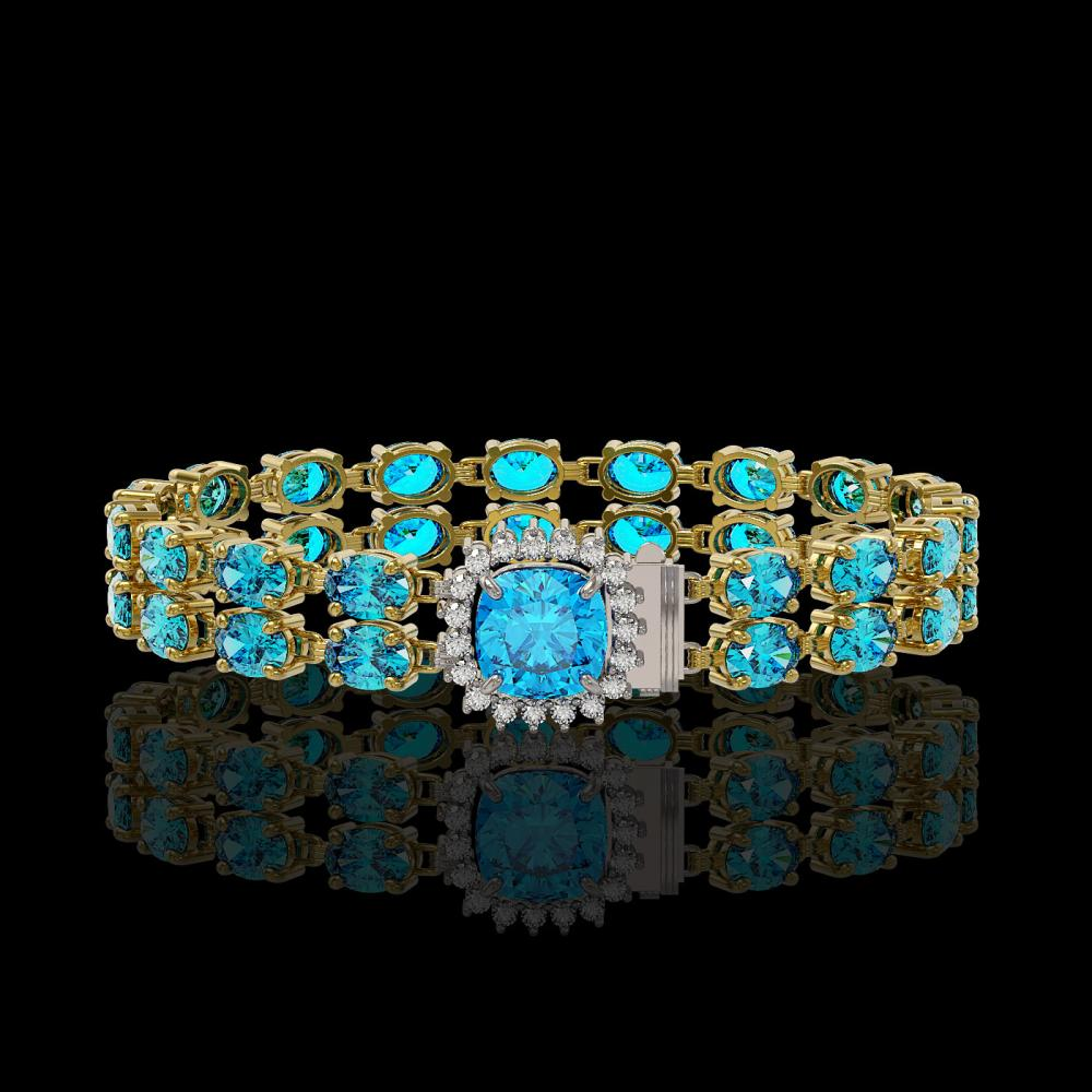 17.67 ctw Swiss Topaz & Diamond Bracelet 14K Yellow Gold - REF-172V4Y - SKU:45628