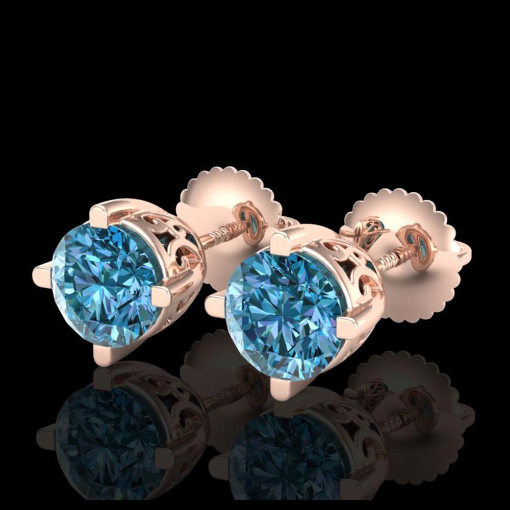 1.50 ctw Fancy Intense Blue Diamond Art Deco Earrings 18K Rose Gold - REF-272R7K - SKU:38070