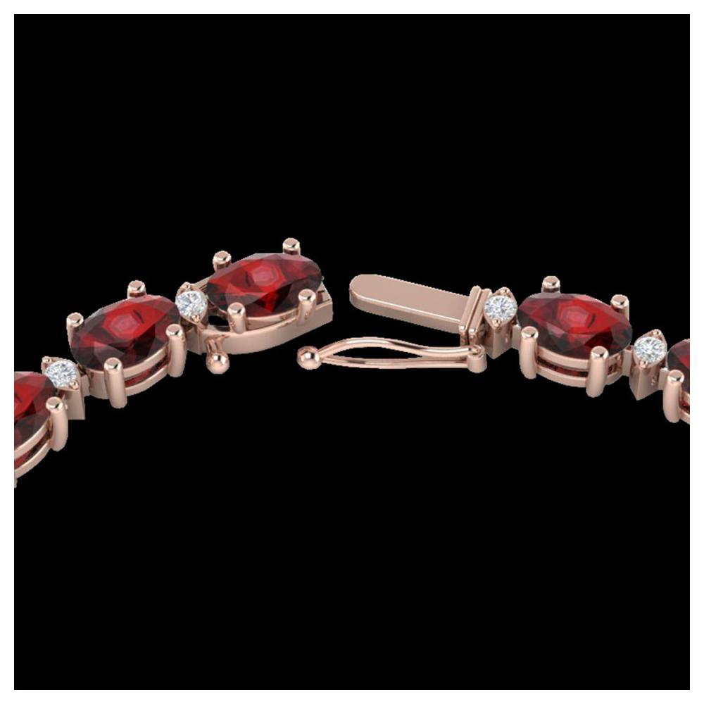 33 ctw Garnet & VS/SI Diamond Eternity Necklace 10K Rose Gold - REF-149W3H - SKU:21594
