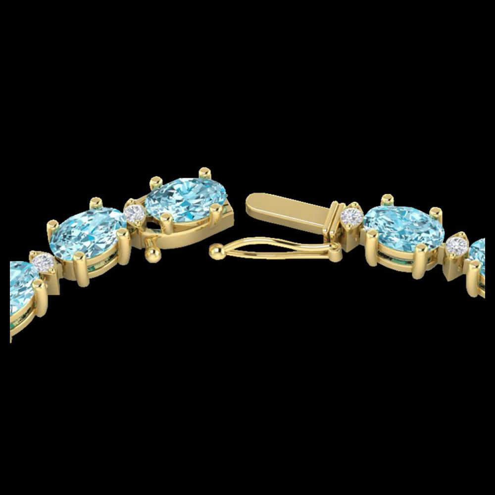 46.5 ctw Sky Blue Topaz & VS/SI Diamond Eternity Necklace 10K Yellow Gold - REF-223N5A - SKU:29440