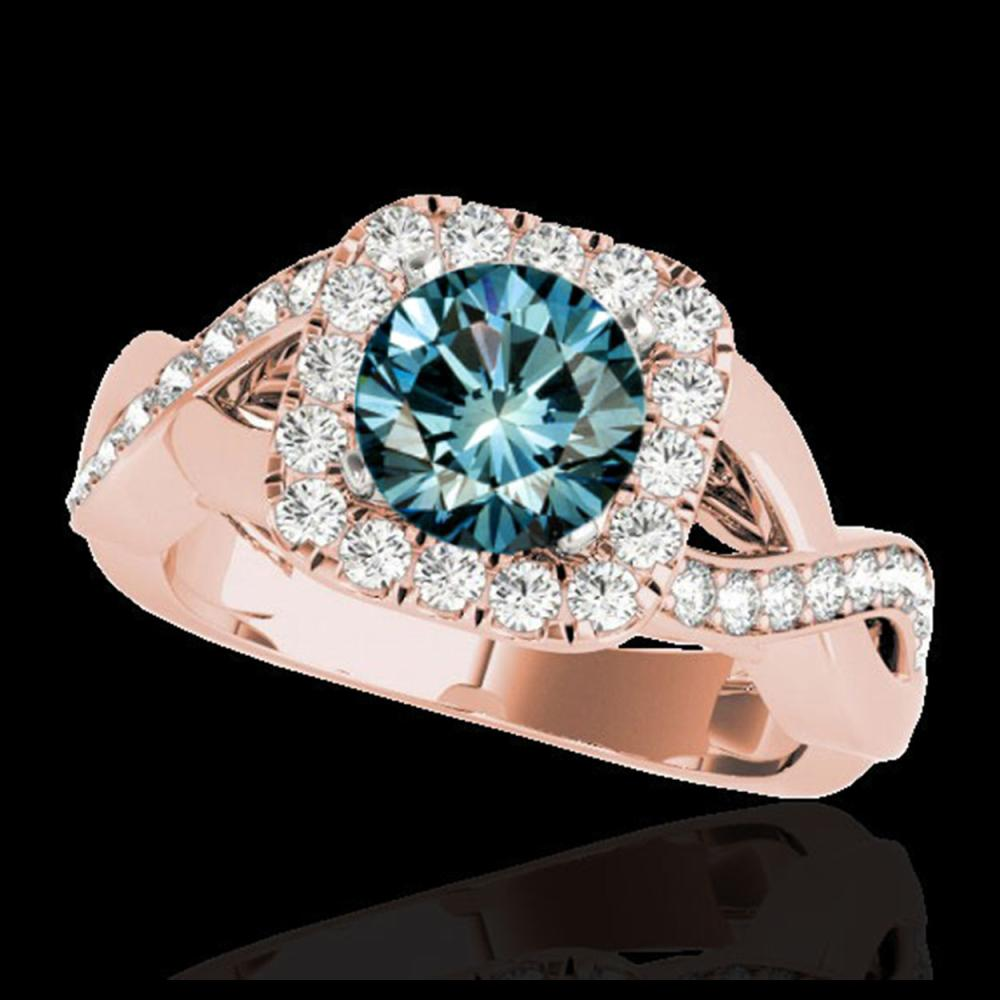 2 ctw SI Fancy Blue Diamond Solitaire Halo Ring 10K Rose Gold - REF-190W9H - SKU:33322
