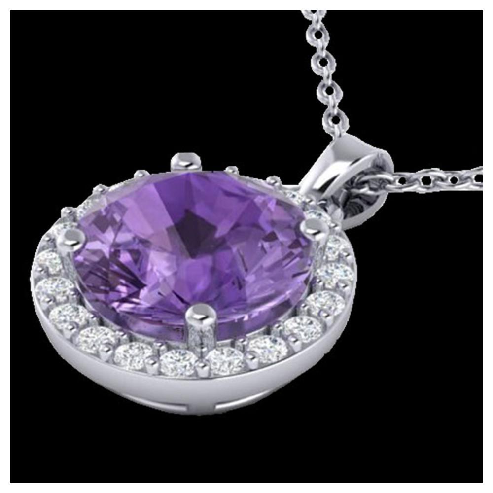 2 ctw Amethyst & Halo VS/SI Diamond Necklace 18K White Gold - REF-40R5K - SKU:21549
