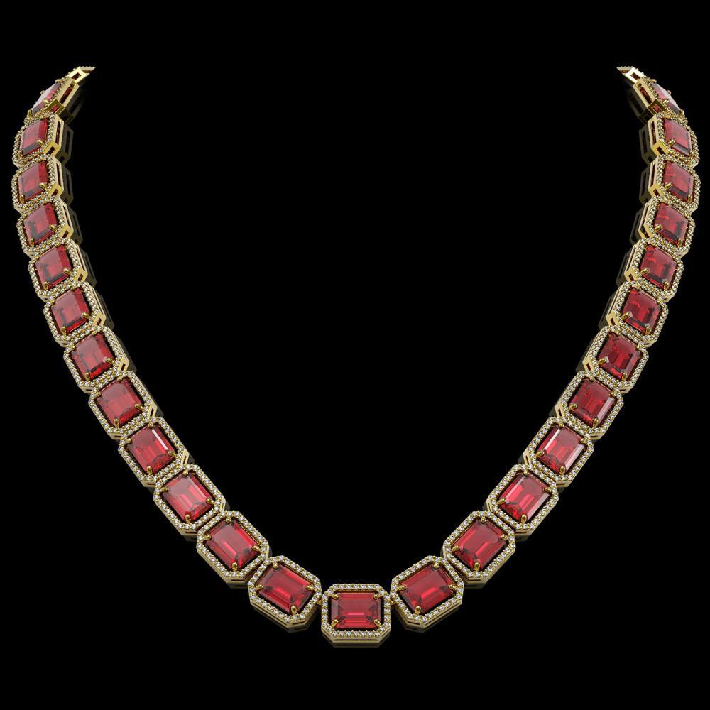 80.32 ctw Tourmaline & Diamond Halo Necklace 10K Yellow Gold - REF-1178F4N - SKU:41494