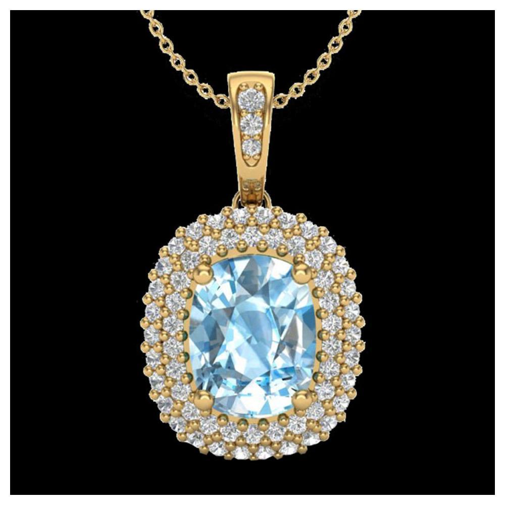 3 ctw Blue Topaz & VS/SI Diamond Necklace 10K Yellow Gold - REF-65M5F - SKU:20406