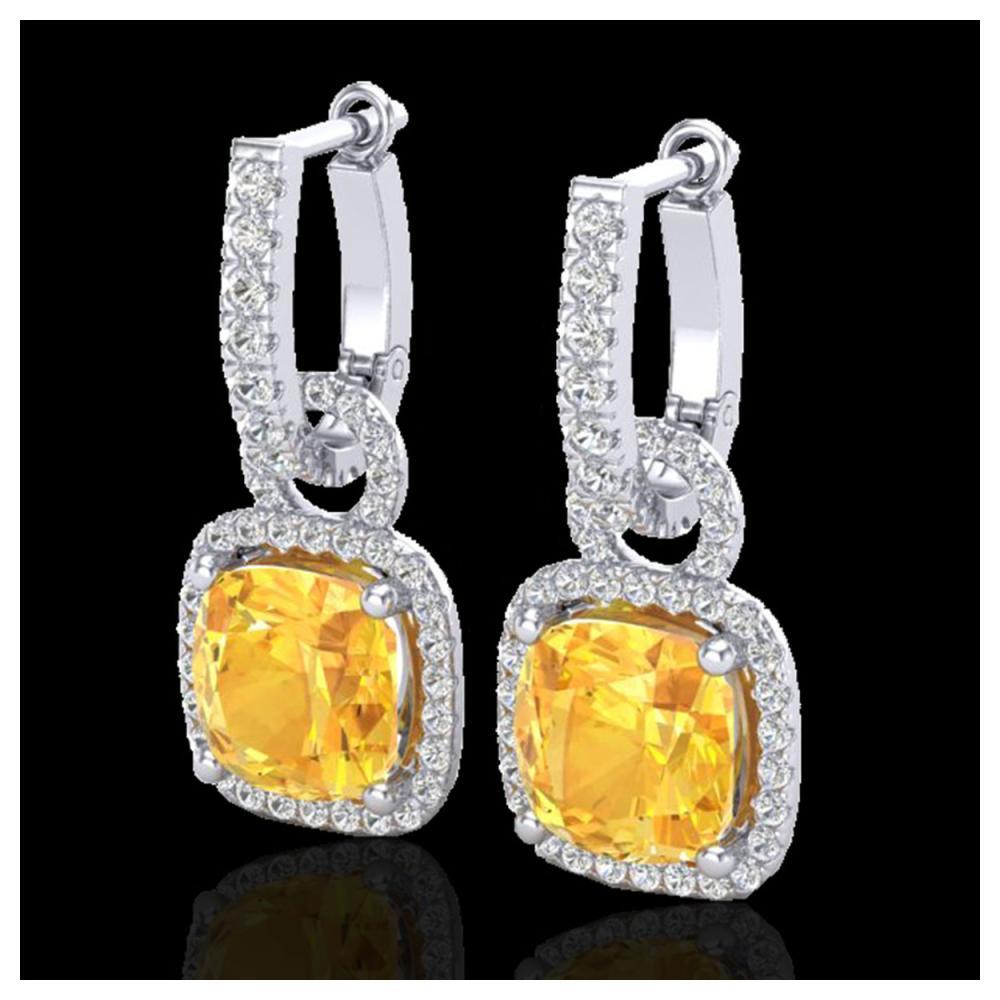 7 ctw Citrine & VS/SI Diamond Earrings 18K White Gold - REF-100X2R - SKU:22958