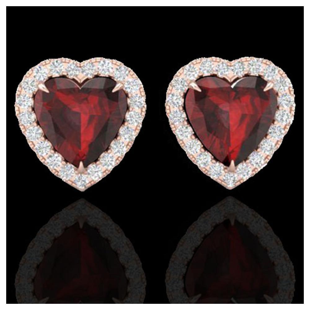 2.22 ctw Garnet & Diamond Earrings Heart 14K Rose Gold - REF-49N3A - SKU:21204