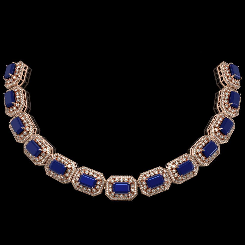 137.65 ctw Sapphire & Diamond Necklace 14K Rose Gold - REF-2875X6R - SKU:43467
