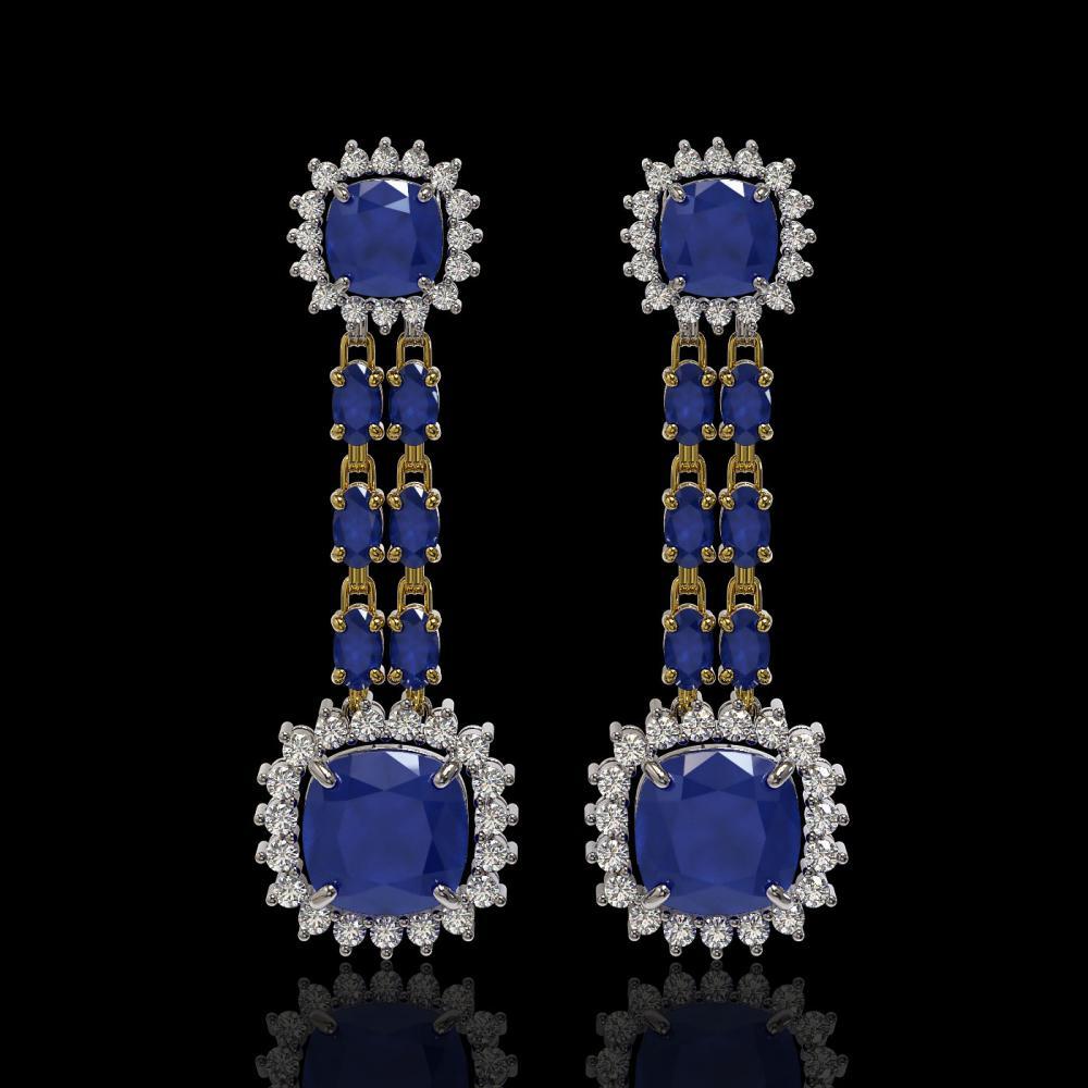19.88 ctw Sapphire & Diamond Earrings 14K Yellow Gold - REF-283F3N - SKU:44917