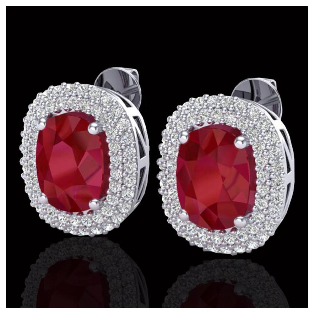 6.30 ctw Ruby & VS/SI Diamond Earrings 18K White Gold - REF-160A9V - SKU:20124