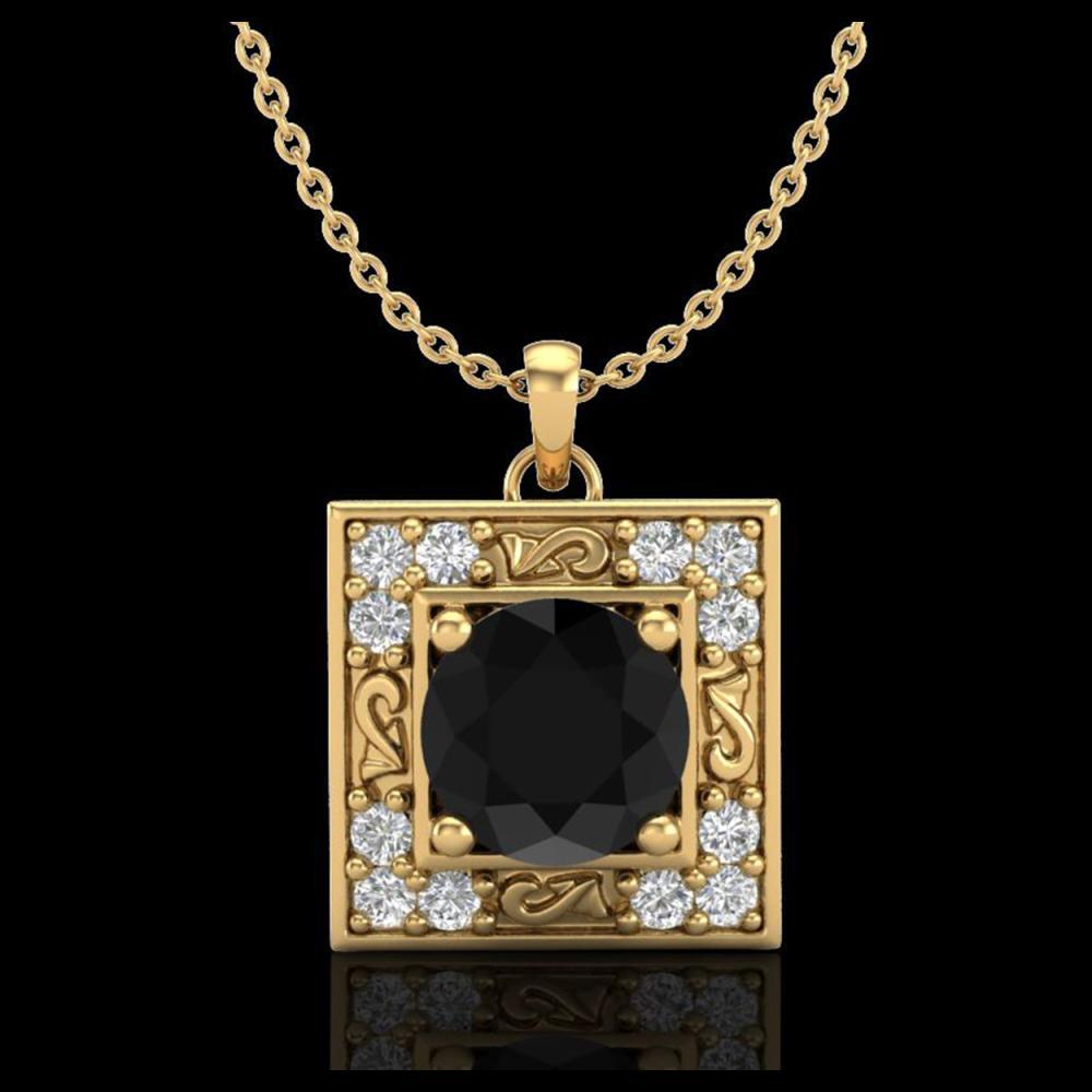 1.02 ctw Fancy Black Diamond Art Deco Stud Necklace 18K Yellow Gold - REF-70Y9X - SKU:38166