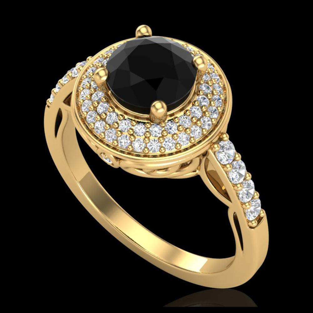 1.70 ctw Fancy Black Diamond Art Deco Ring 18K Yellow Gold - REF-143X6R - SKU:38124