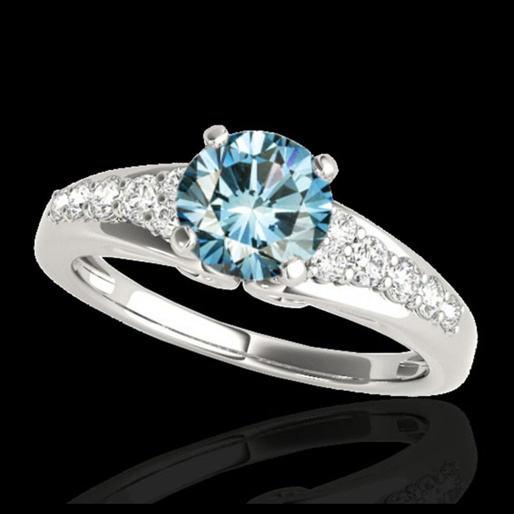 1.40 ctw SI Fancy Blue Diamond Solitaire Ring 10K White Gold - REF-120W2H - SKU:35001