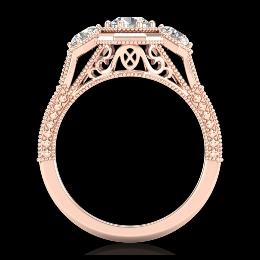 1.05 ctw VS/SI Diamond Solitaire Art Deco 3 Stone Ring 18K Rose Gold - REF-200K2W - SKU:37101