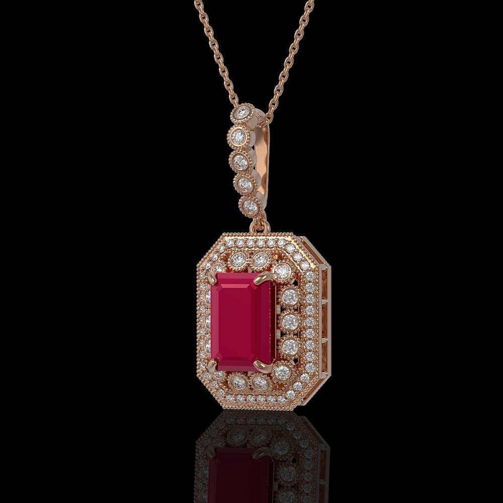 7.18 ctw Ruby & Diamond Necklace 14K Rose Gold - REF-159N3A - SKU:43440