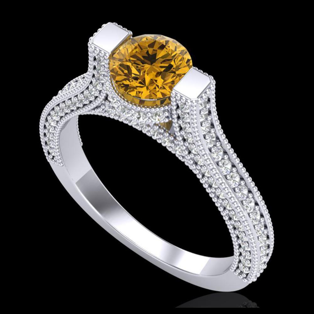 2 ctw Intense Fancy Yellow Diamond Ring 18K White Gold - REF-200W2H - SKU:37623