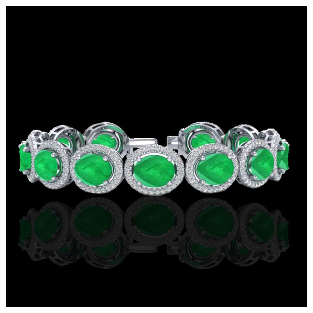 30 ctw Emerald & VS/SI Diamond Bracelet 10K White Gold - REF-481M8F - SKU:22686